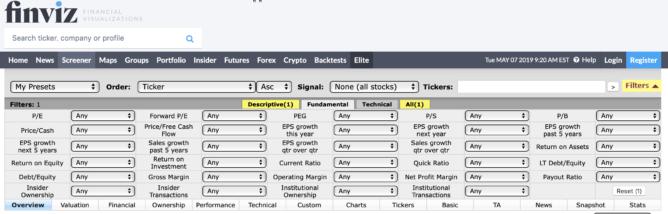 米国株をスクリーニングできるサイト