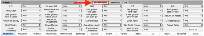 FINVIZのStock ScreenerでFundamentalを選択
