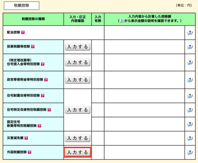 e-taxの外国税額控除画面