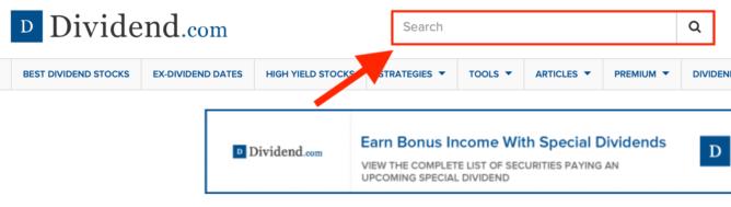 Dividend.com 銘柄の検索