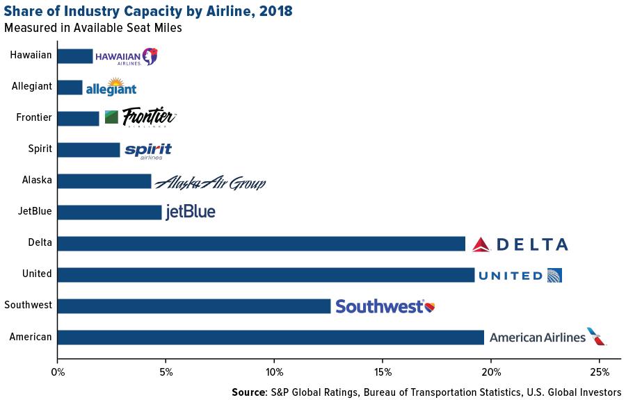 米国の航空会社の旅客輸送容量別のマーケットシェア
