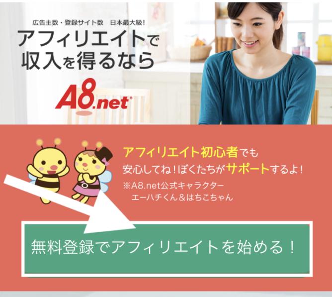 A8.net登録画面