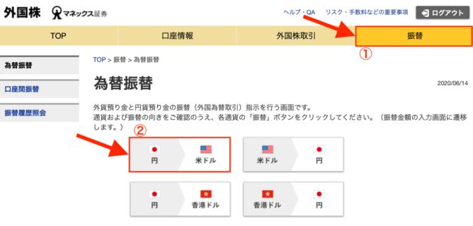 マネックス証券 外国株ページ 為替振替