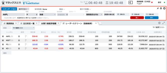 マネックス証券 トレードステーション 米国株の注文入力画面
