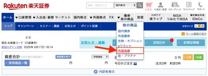 楽天証券 日本円から米ドルに両替
